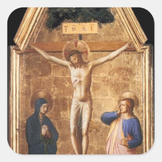 El Fra Angelico- crucificó a Cristo con la Virgen Pegatina Cuadrada