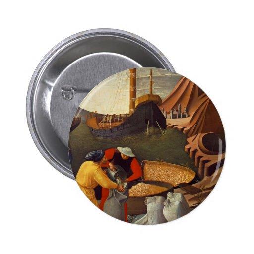 El Fra Angelico- San Nicolás ahorra la nave Pin Redondo 5 Cm