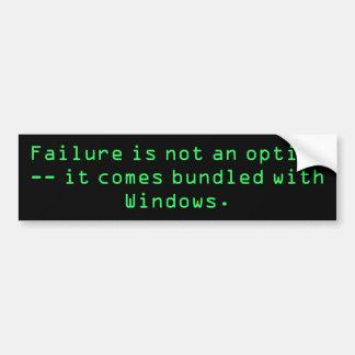 El fracaso no es una opción -- viene los wi liados pegatina para auto
