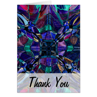 El fractal azul del caleidoscopio le agradece card tarjeton