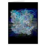 El fractal empluma la tarjeta azul