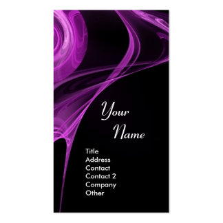 El FRACTAL SUBIÓ el negro púrpura antiguo suave 3 Plantilla De Tarjeta Personal