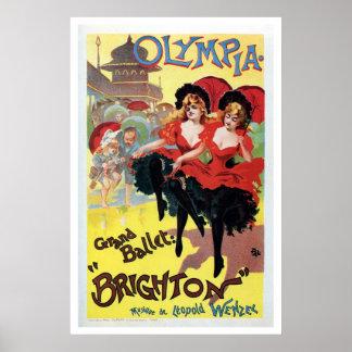El francés del vintage poder-puede (cancan) bailar poster