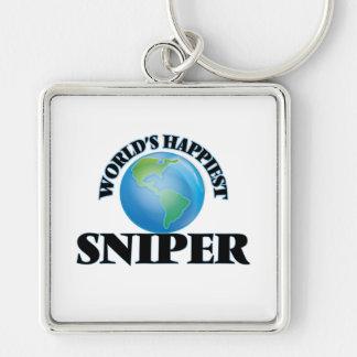 El francotirador más feliz del mundo llavero cuadrado plateado