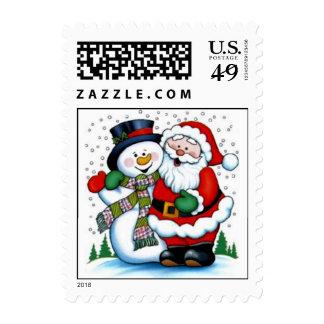 El franqueo del muñeco de nieve y de Papá Noel