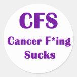 El Freaking del cáncer chupa el CFS Pegatina Redonda