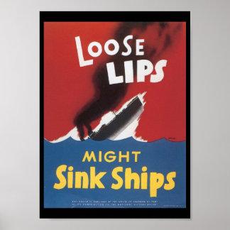 El fregadero flojo de los labios envía la guerra m póster