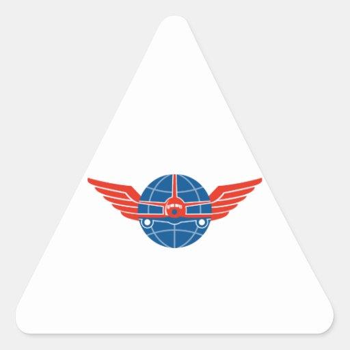 El frente plano del Jumbo se va volando el globo Pegatina Triangular