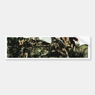 El fresco del día del juicio final en la pared del etiqueta de parachoque