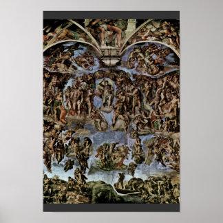 El fresco del día del juicio final en la pared del póster