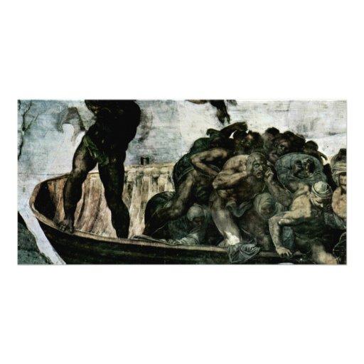 El fresco del día del juicio final en la pared del tarjetas fotográficas