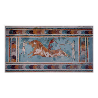 El fresco del Toreador, palacio de Knossos, Creta Póster