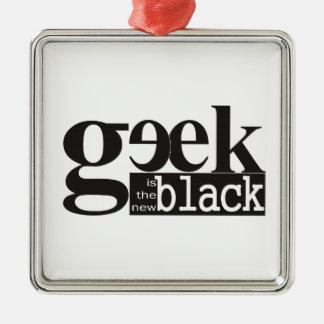 El friki es el nuevo negro adorno cuadrado plateado