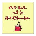 El frío da a chocolate caliente la lona linda impresiones en lona