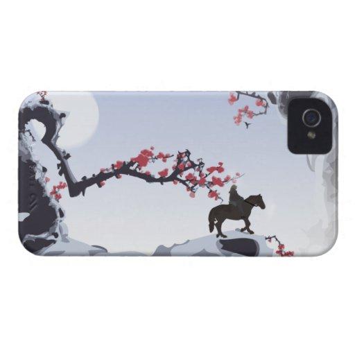 El frío solitario del jinete - picos de montaña iPhone 4 protector