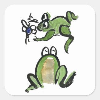 El Froggy consigue un pedazo comer Pegatina Cuadrada