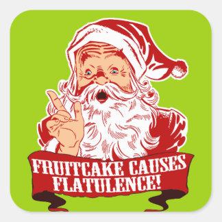 El Fruitcake causa flatulencia Pegatina Cuadrada