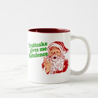 El Fruitcake hace que Santa Fart Taza Dos Tonos