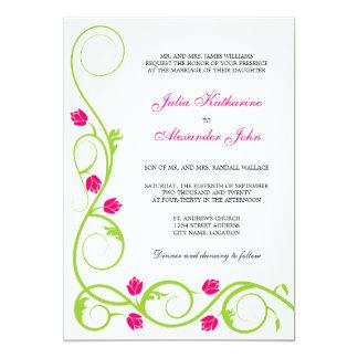 El fucsia verde elegante remolina invitación del invitación 12,7 x 17,8 cm