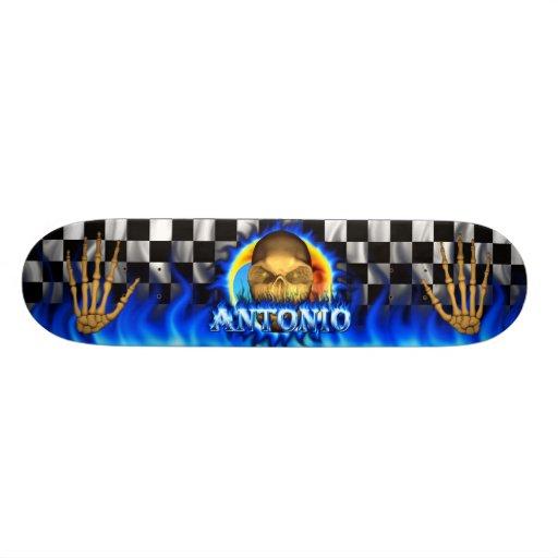 El fuego azul del cráneo de Antonio flamea skaters Tabla De Skate
