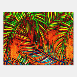 El fuego de hoja de palma de la selva del arte letrero