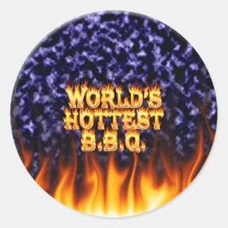 El fuego del Bbq del mundo y el azul más calientes Pegatina Redonda