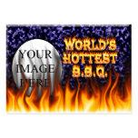 El fuego del Bbq del mundo y el azul más calientes Plantillas De Tarjetas Personales