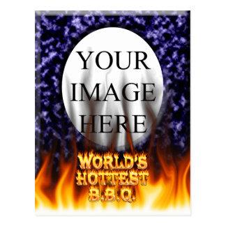 El fuego del Bbq del mundo y el azul más calientes Tarjetas Postales