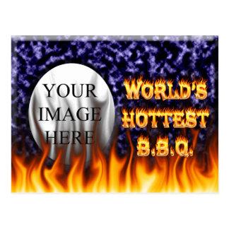 El fuego del Bbq del mundo y el azul más calientes Tarjeta Postal