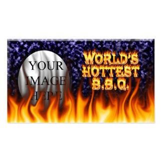 El fuego del Bbq del mundo y el azul más calientes Tarjetas De Visita