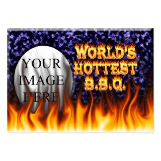 El fuego del Bbq del mundo y el azul más calientes Tarjetas De Visita Grandes