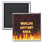 El fuego del friki del mundo y el rojo más calient iman de frigorífico