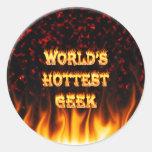 El fuego del friki del mundo y el rojo más calient etiquetas
