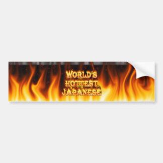 El fuego del mundo y el marbl japoneses más calien pegatina de parachoque