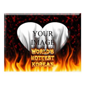 El fuego del mundo y el rojo coreanos más caliente tarjetas postales