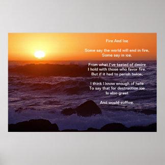 El fuego y el hielo sobre A riegan la playa delant Poster