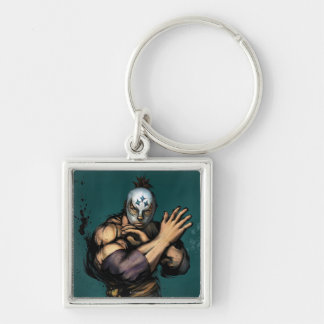 El Fuerte Blocking Silver-Colored Square Keychain