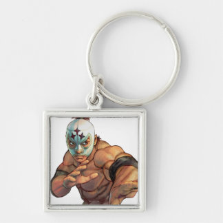 El Fuerte Ready Stance Silver-Colored Square Keychain