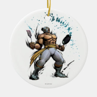 El Fuerte With Frying Pan Double-Sided Ceramic Round Christmas Ornament