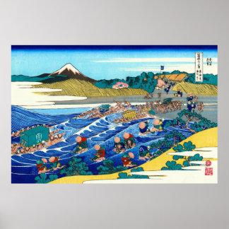 El Fuji de Kanaya, por Katsushika Hokusai Póster