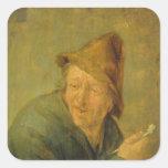 El fumador, 1640 pegatina cuadradas personalizada