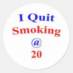 El fumar abandonado 20 pegatinas redondas