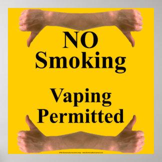 El fumar contra la muestra de Vaping Póster