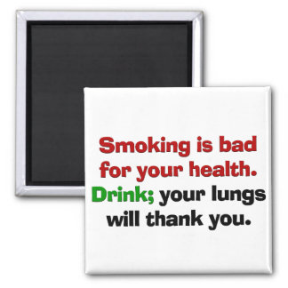 El fumar es malo para su salud imán cuadrado