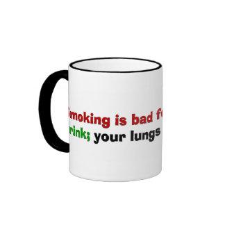 El fumar es malo para su salud tazas