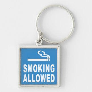 El fumar permitido llavero cuadrado plateado