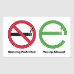 El fumar prohibido. Vaping permitió Rectangular Pegatina