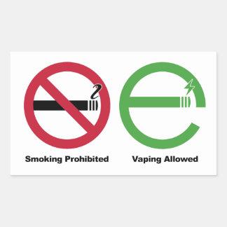 El fumar prohibido. Vaping permitió Pegatina Rectangular