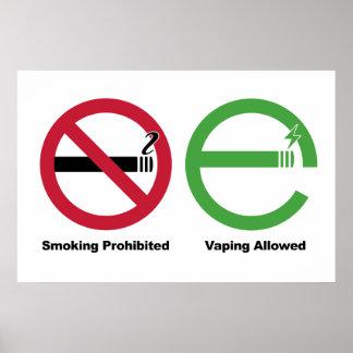 El fumar prohibido. Vaping permitió Póster