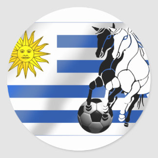 El futbol 2010 de Charruas del fútbol de Uruguay Pegatina Redonda